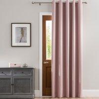 Luna Brushed Blush Blackout Eyelet Door Curtain Blush Pink