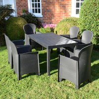 Trabella Roma 6 Seater Dining Set with Sicily Chairs Grey