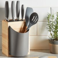 Grey Knife Block with Five Knives Grey and Brown
