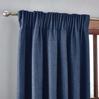 Jennings Navy Thermal Pencil Pleat Curtains Navy Blue