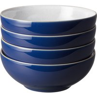 Set of Four Denby Elements Dark Blue Cereal Bowls Blue