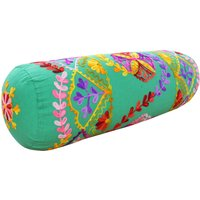 Paoletti Turin Embroidered Bolster Cushion Green