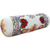 Paoletti Turin Embroidered Bolster Cushion Cream