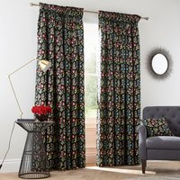 VandA Campion Black Floral Pencil Pleat Curtains Black and Gold