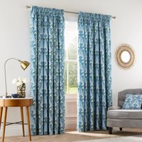 VandA Alyssum Blue Floral Pencil Pleat Curtains Blue