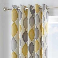 Lennox Ochre Eyelet Curtains Yellow, Grey and White