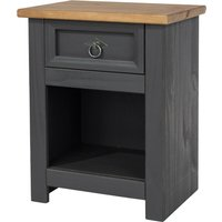 image-Corona Carbon 1 Drawer Bedside Cabinet Grey and Brown