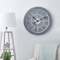image-Wooden 60cm Wall Clock Grey Gey