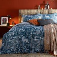 Furn. Winter Woods Midnight Blue Reversible Duvet Cover and Pillowcase Set Navy