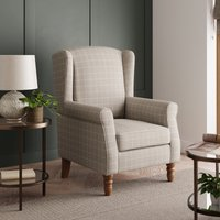 Oswald Window Pane Check Wingback Armchair - Natural Brown a