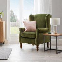 Oswald Velvet Wingback Armchair - Moss Green Green