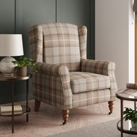 Oswald Grande Check Wingback Armchair - Natural Beige and Wh