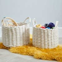image-Set of 2 Round Knitted Cream Storage Baskets Off-White