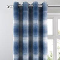 Cambridge Check Jacquard Navy Eyelet Curtains Blue