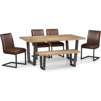 Brooklyn Oak Dining Table Set with 4 Chairs and Bench Oak