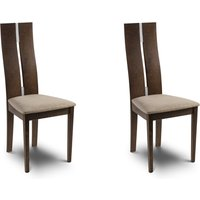 Cayman Set of 2 Dining Chairs Walnut Wood (Brown)