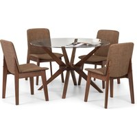 Chelsea Glass Dining Table with 4 Kensington Chairs Walnut