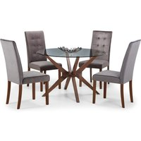 Chelsea Glass Dining Table with 4 Madrid Chairs Walnut