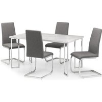 Positano Dining Table and 4 Roma Chairs Silver