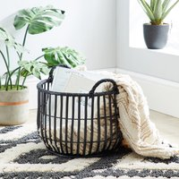 image-Wicker Black Storage Basket Black
