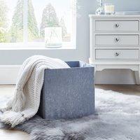 image-Foldable Crushed Velvet Silver Storage Box Silver