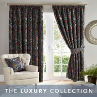 Betsy Chenille Jacquard Navy Pencil Pleat Curtains Navy Blue, Red and Green