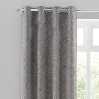 Abstract Chenille Dove Grey Eyelet Curtains Grey