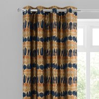 Budapest Midnight Spice Jacquard Eyelet Curtains Brown and Blue