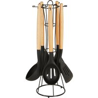 Black Silicone and Wooden Kitchen Utensils Set Black and Brown