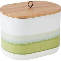 Green Reactive Glaze Bread Bin White, Green and Brown