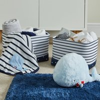 image-Plain Sailing Navy Stripe Twin Pack Soft Storage Baskets Navy