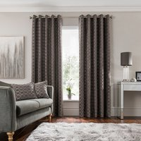 Chenille Ogee Charcoal Eyelet Curtains Charcoal