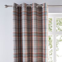 Melrose Woven Check Teal Eyelet Curtains Grey, Red and Blue