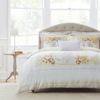 Dorma Hartington 100% Cotton Reversible Duvet Cover and Pillowcase Set Yellow, Pink and White