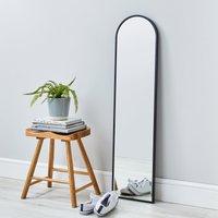 Apartment Narrow Arch Leaner Mirror 120x30cm Black Silver