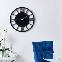image-Glitter Mirrored 50cm Wall Clock Black Black