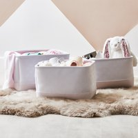 image-Beautiful Basics Pink Heart Patterned Set of Three Storage Baskets Pink