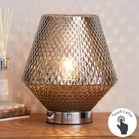 image-Miah Smoked Glass Touch Dimmable Table Lamp Silver