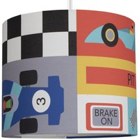 image-Racing Cars Drum Light Shade Black, Red and Blue