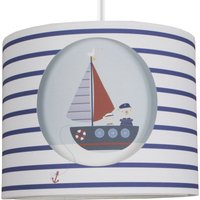image-Plain Sailing Cut-Out Drum Light Shade Blue, White and Brown