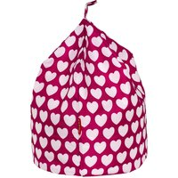 Pink Hearts Bean Bag Pink and White