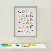 Rainbow Alphabet Framed Print White, Red and Blue