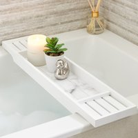 Marble Effect Bamboo Bath Rack White