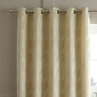 Houston Geometric Jacquard Natural Eyelet Curtains Brown