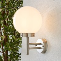 Polar Dome Frosted Glass Outdoor Wall Light Silver