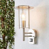 Derek PIR Sensor Glass Steel Outdoor Wall Light Silver