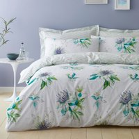 Passion Flower 100% Cotton Reversible Duvet Cover and Pillowcase Set White and Green