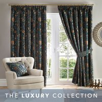 Betsy Chenille Jacquard Lagoon Pencil Pleat Curtains Blue, Green and Brown