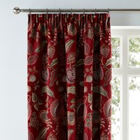 Edina Chenille Pencil Pleat Curtains Red, Green and White