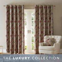 Betsy Natural Chenille Jacquard Eyelet Curtains Beige, Red and Yellow